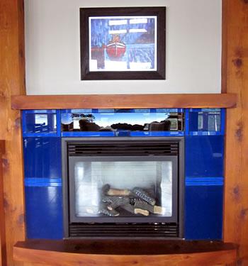 Fireplace at Whiskey Landing Lodge, Ucluelet, B.C.