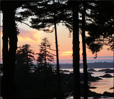 A sunset view from the deck of one of Wya Point Resort's lodges, Ucluelet, B.C..