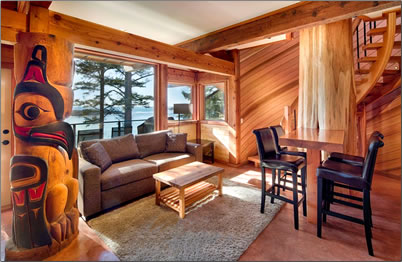 The interior of one of Wya Point Resort's lodges, Ucluelet, B.C.