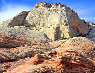 Sliprock geological formations in Zion National Park.
