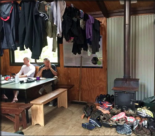 Inside Clinton Hut on New Zealand's Milford Track.