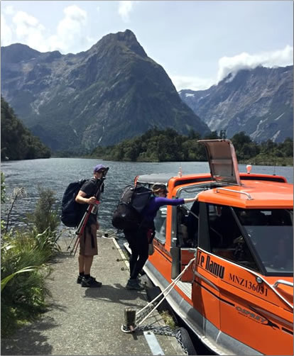 Water taxi back to Milford Sound after hiking New Zealand's Milford Track.