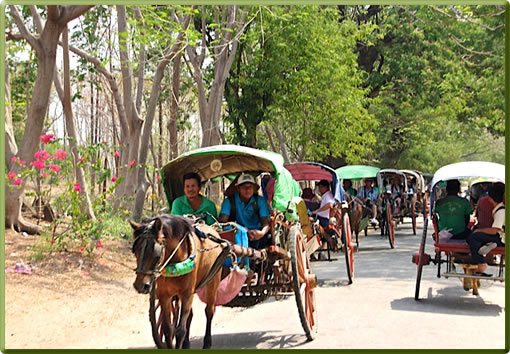 Horse-drawn carts transport Irrawaddy River cruise passengers to local markets.