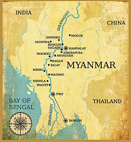 Map of Myanmar and the Irrawaddy River.