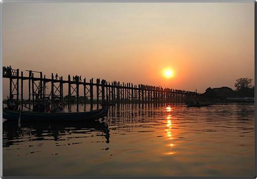 Myanmar's U Bein bridge near Mandalay, longest and oldest teak bridge in the world.