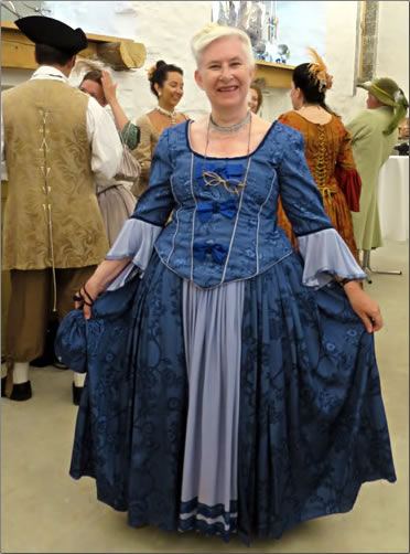 Author Alison Gardner models a traditional costume at Quebec City's New France Festival.
