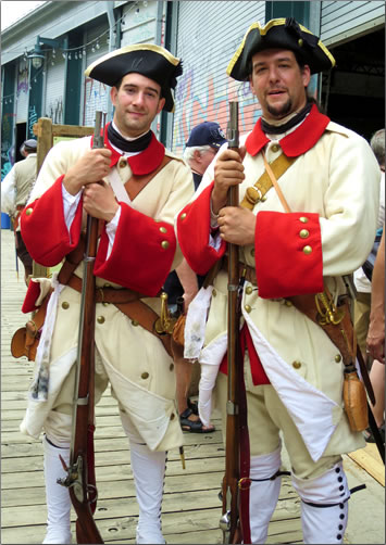 Soldiers in costume from the 1600s at Quebec City's New France Festival.