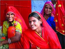 Rajasthan women in traditional Indian saris.