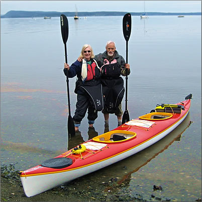 Peter and Alison Gardner kayaking off Vancouver Island.