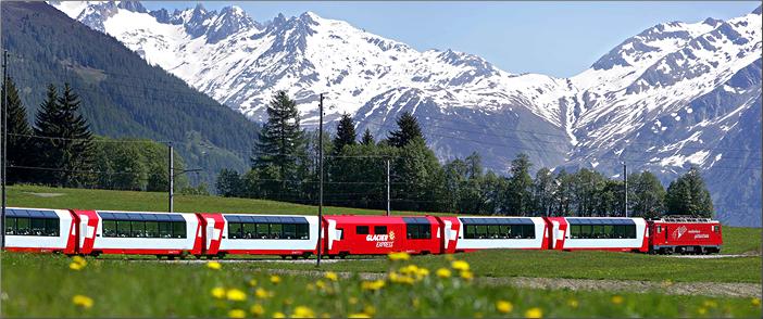 Eurail Glacier Express train travels in Switzerland. Eurail