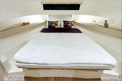 Le Boat luxury self-skippered cruiser master bedroom.