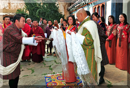 Article about a Myths and Mountains tour in Bhutan where two participants get married in traditional Bhutan wedding style.
