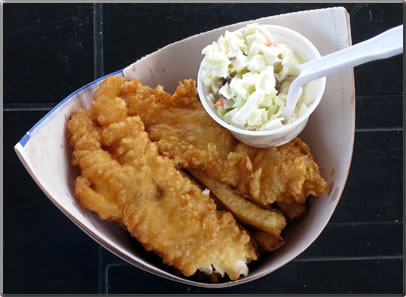 Fish and Chips served by Pajos takeaway on Fisherman's Wharf at Steveston, B.C.