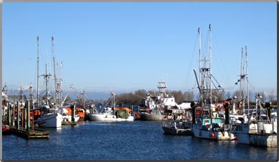 Historic village Steveston B.C. with big fishing fleet and marina.