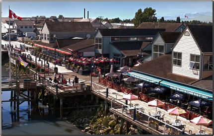 Aerial view of Steveston's waterfront boardwalk.