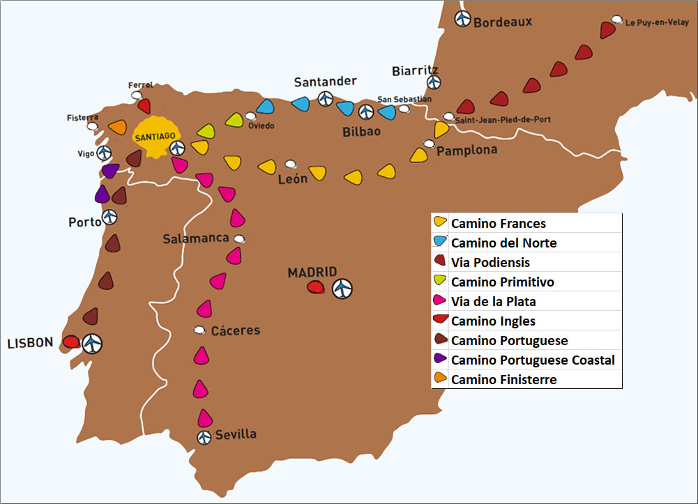 Map of Spain with different routes to Santiago de Compostela.