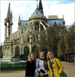 April Hughes and her two daughters in Paris.