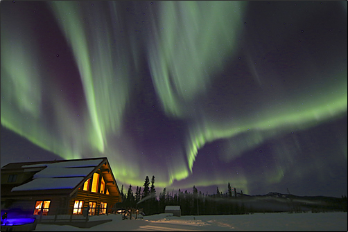 Aurora Borealis visits Yukon skies from late August to mid April.