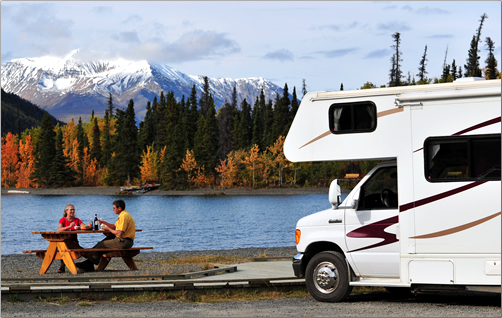 An RV picnic stop in Kluane National Park.