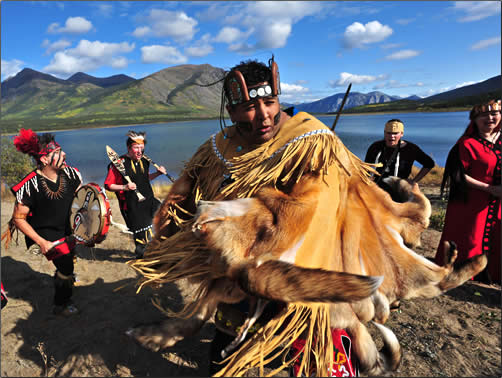 Dakka' Kwa'an Dancers offer traditional dances and music in Carcross.