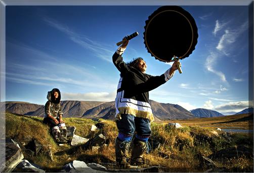 Aaju and Matthew demonstrate Inuit drumming.