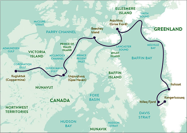 "Adventure Canada's ""Out of the Northwest Passage"" cruise route."