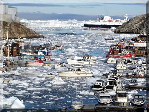 Ice-clogged Ilulissat harbor, Western Greenland.