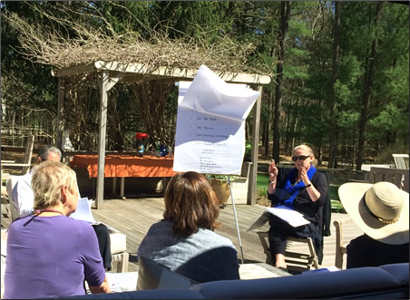 Facilitators and participants focus on finance during a Sag Harbor sundeck session. ©Nancy Bearg